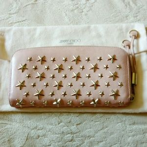 Auth Jimmy Choo Carnaby star zippy wallet peach